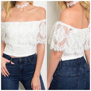Off The Shoulder Fitted Top, Lace Detail